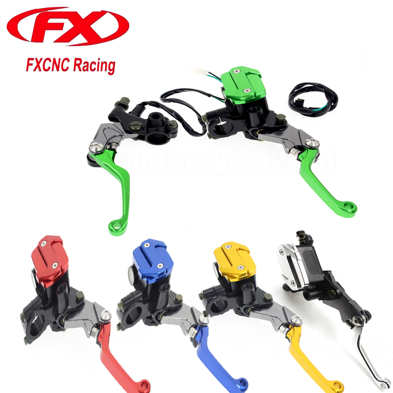 7/8 22mm Motocross Cylinder Reservoir Brake Clutch Lever For Kawasaki KX65 KX85 KX125 KX250 KX250F Hydraulic Brake Lever cnc pivot brake clutch lever for kawasaki kx65 kx85 kx125 kx250 kx250f new
