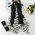 Stripe Silk Scarf Women Long Elegant Shawl Soft Foulard Style Black & White Brand New [1906]