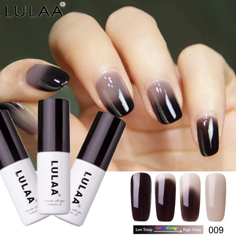 Lulaa 18 Цвета Термальность Температура изменить Цвет Гели для ногтей лак замочить от УФ-Хамелеон Гель-лак Led Лаки для ногтей гель лак