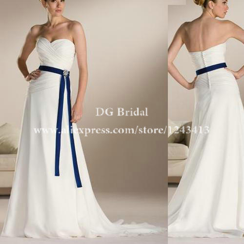 Hot sale chiffon sweetheart white bridal dress with royal for Royal blue and white wedding dresses