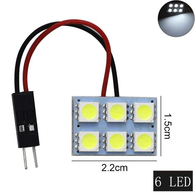 1 ensemble voiture panneau lecture carte lampe 5050 6 9 12 15 24 36 48 LED SMD dôme intérieur ampoule toit lumières BA9S T10 C5W adaptateur Festoon Base 1