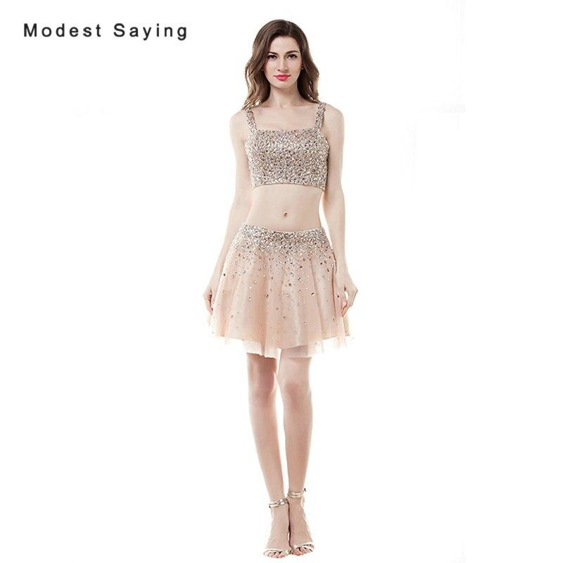 Сексуальная Шампанское A-Line beaded Crop Top короткие Коктейльные платья 2017 со стразами Мини Homecoming для выпускного бала Свадебные платья коктель