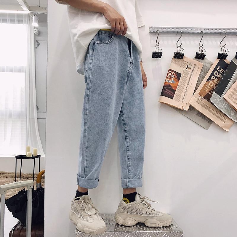 2019 New Fashion Four Seasons Loose Men Jeans Washed Cotton Casual Light Blue Cowboy Pants Zipper Jeans M-2XL Free Shipping