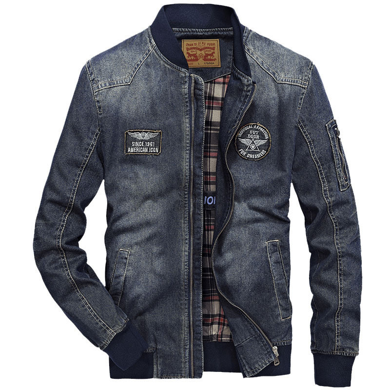 New Men's Denim Jacket Spring Brand Fashion Stand Collar Multi Pocket Cotton Casual Jackets Coat Men Slim Fat Clothing 4XL BF687-in Jackets from Men's Clothing    1