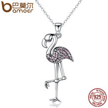 BAMOER 925 Sterling Silver Popular Flamin Bird Animal Pendant Necklaces with Clear Pink CZ Women Luxury Jewelry Brincos SCN093