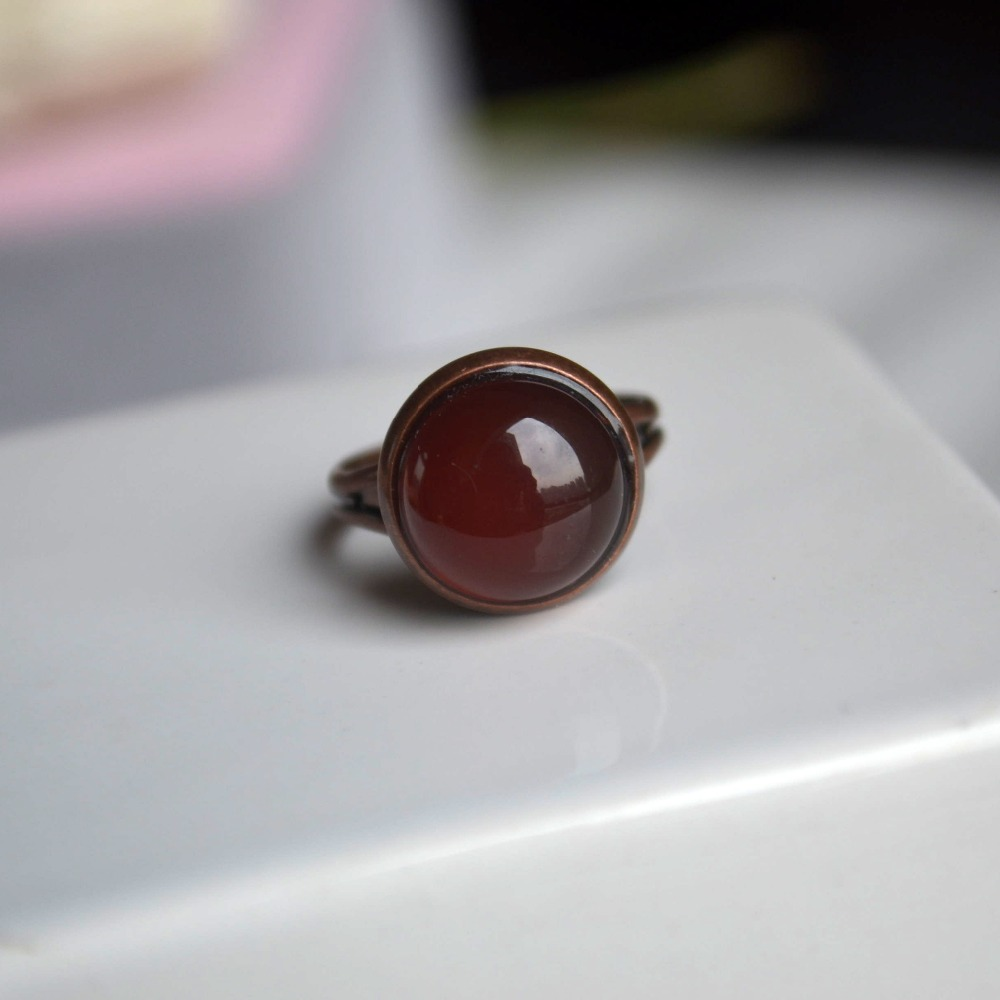 Red Carnelian Natural Stone Birthstone Solitaire Red bronze Color Resizable Wedding Rings For Women Jewelry Boho Vintage Ladies image
