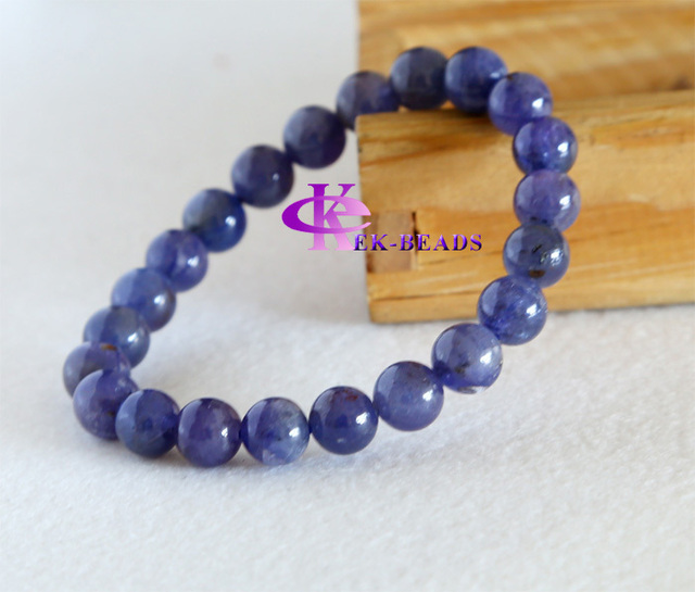 Discount Wholesale Natural Genuine Blue Tanzanite Finished Stretch Men's Bracelets Beaded Round Big beads 8mm 03183