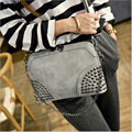 2017 New Arrive Women Shoulder Bag Nubuck Leather Crossbody Bags Women's Fashion Bag Girls Rivets Handbags Purse Femme Sac Gray
