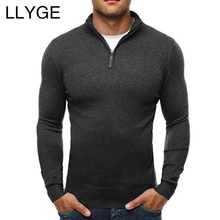 LLYGE 2018 Autumn Mens Solid Color Long Sleeve Sweater Stand Collar Zipper Slim Fit Knitted Pullovers Men Casual Style Sweaters