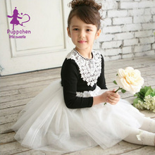 Puppchen vestidos lace floral patchwork dress baby girls clothes children clothing princess sequins dresses for girls kids