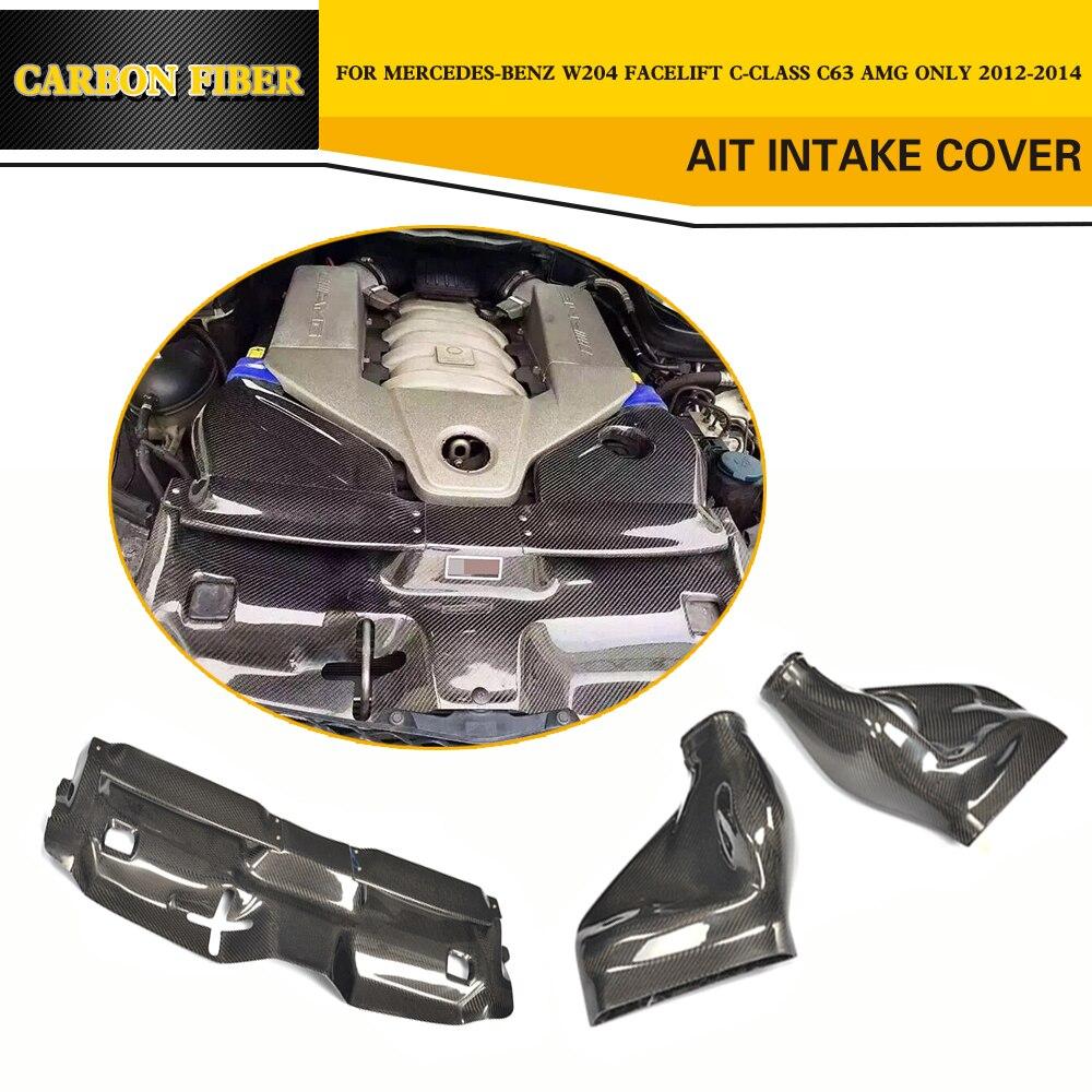 Авто двигатель воздухозаборника крышка фильтра для Mercedes Benz C Class W204 C63 AMG седан Coupe 2013 2014 карбоновое волокно боонетная крышка