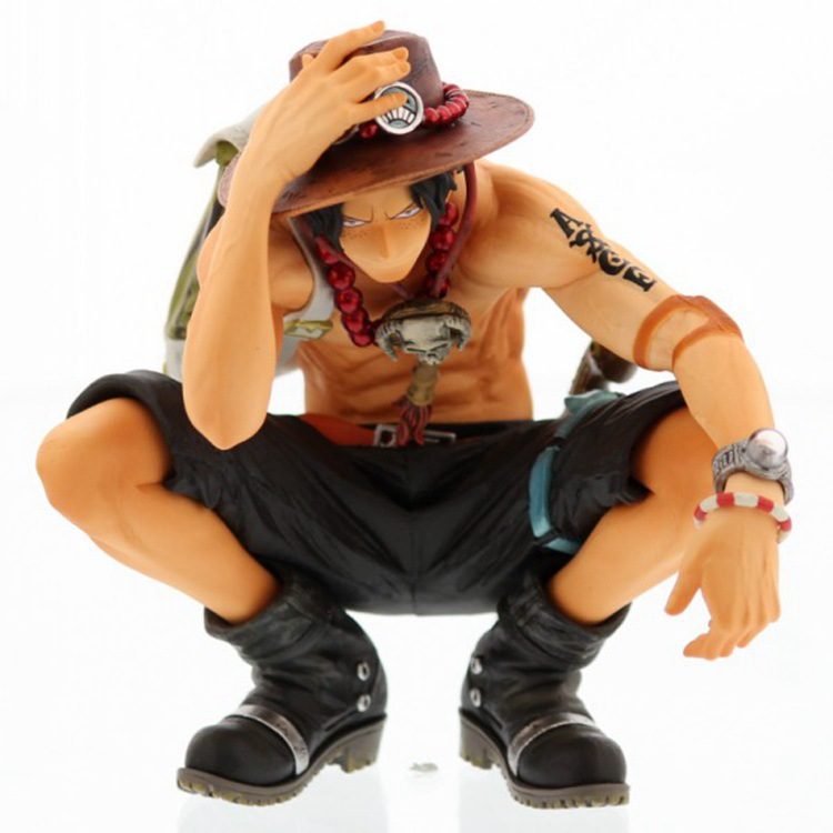 Hot NEW 16cm One piece ace squatting action figure font b toys b font Christmas doll