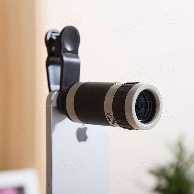 Universal 8x lente zoom óptico de cámara del telescopio del teléfono móvil para alcatel c3 c5 c7 c9 one touch pixi 3 3.5 4 glass + metal lentes