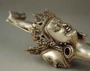 Image 3 - Старый Тибет Тибетский серебряный буддийский эксорцим Дхарма сосуд