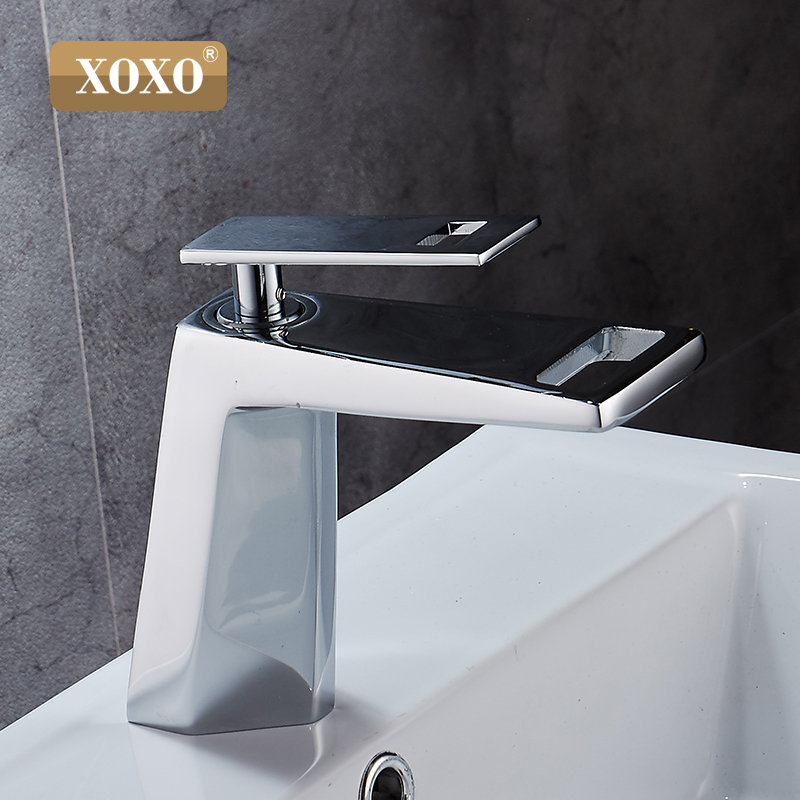 Image 3 - XOXO black white bathroom basinfaucet Hollow shape bath Waterfall faucets single handle water mixer tap 80015-in Basin Faucets from Home Improvement