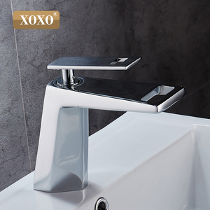 Image 3 - XOXO black white bathroom basinfaucet Hollow shape bath Waterfall faucets single handle water mixer tap 80015