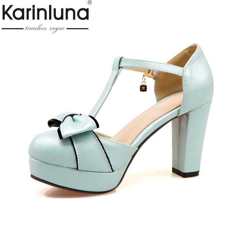 KarinLuna Size 32-43 Buckle Strap Bowtie Women Sandals Woman Square high-heeled Round Toe Platform Party Wedding Sandals Woman summer causal open toe buckle high heeled thick waterproof platform sandals for women