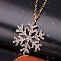 Barato moda jóias CZ Cristal charme colares colar para o natal do floco de neve flor pingentes colar bijoux carvoeiros 2015