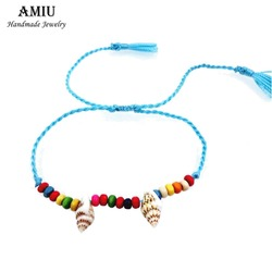 Amiu 1pcz h handmade friendship bracelet hippy colorful conch beaded charm conch beads cross love ankle.jpg 250x250