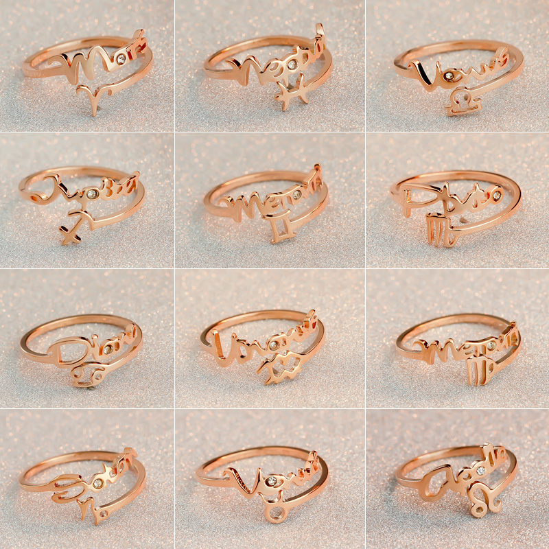 12 constellations Zodiac Sign Finger Rings Rose Gold Color 316 titanium steel Adjustable size Womens Rings fashion jewelry