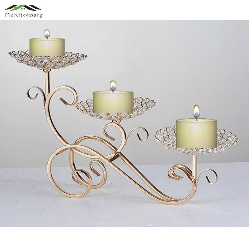 10pcslot metal gold candle holders 3arms with crystals 50cm stand pillar candlestick - Gold Candle Holders