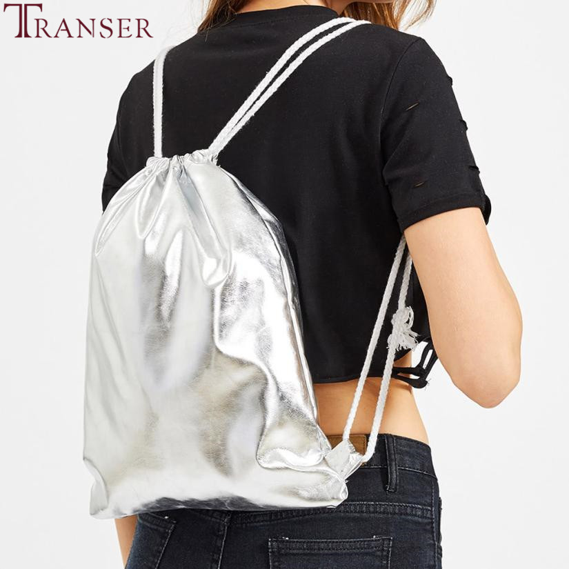 Transer Women Fashion Solid Pure color Drawstring Backpack Tote Ladies Purse Rope Backpacks drop shipping A30