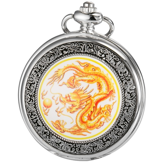 Classic Retro Bronze Copper Dragon Hunter Pendant White Dial Men Lady Necklace C