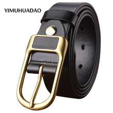 2017 New trend disigner real leather-based belts for males's top quality cowskin luxurious strap pin buckle denims for males model belt