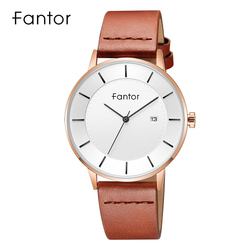 Fantor Men's Classic Minimalist Watches Date Leather Strap Waterproof Quartz Thin Watch Casual Dress Wristwatch for Men