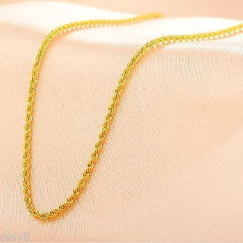Fine Pure Au750 18K Yellow Gold Women's Rope Chain Link Necklace 18inch 1