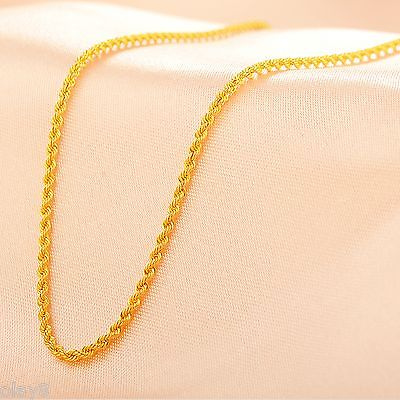 Fine Pure Au750 18K Yellow Gold Women's Rope Chain Link Necklace 18inch