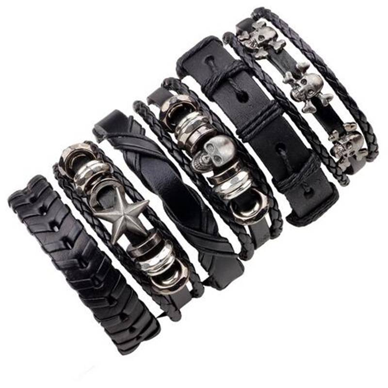 1Set/5-6PCs Punk Rock Skull Star Multi Charm Bracelet For Women Men Gothic Jewelry Braided Rope Leather Bracelet Men