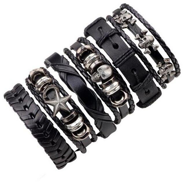 736d4d2a4d4ee Conjunto 1 5 6 pcs Crânio Punk Rock Star Multi Charm Bracelet Para ...