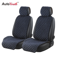 AUTOYOUTH Cotton Car Seat Cushions 2 Seats Breathable Car Seat Cover Protector Universal for Trucks SUV Dark Blue Non slip