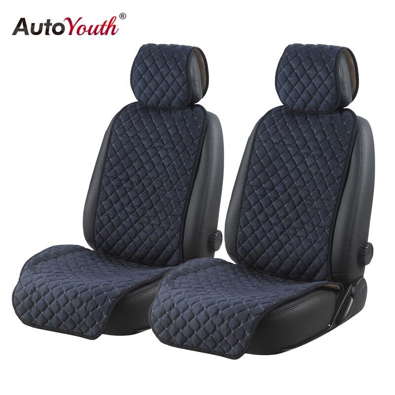 AUTOYOUTH asiento de coche del algodón cojines 2 asientos asiento de coche transpirable cubierta Protector Universal para camiones SUV azul oscuro no antideslizante