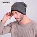 Новые Люди Зима Теплая Акриловые Skullies Шапочка Европейский и Американский Стиль Вязаные Шапки для Женщин Утолщенной Шапки bonnet femme