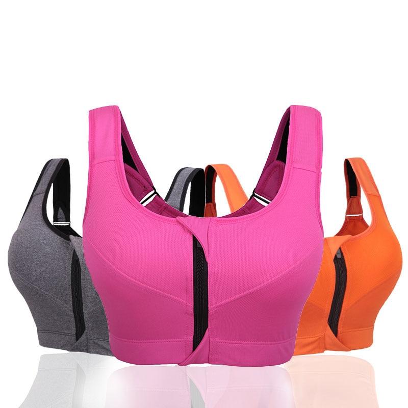 Professional Level 4 Stretch Sports Bras Shockproof Fixed Quick-drying Underwear Vest Women Running Gym Zipper Adjustable Strap