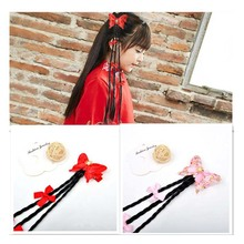Children novelty hair accessories Bow knot braided clips wigs horsetail hairpins fashion for girls