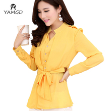 2016 Spring New Women's Casual long style Chiffon Shirt / Women solid color long sleeve blouse shirt / Send Braided belt