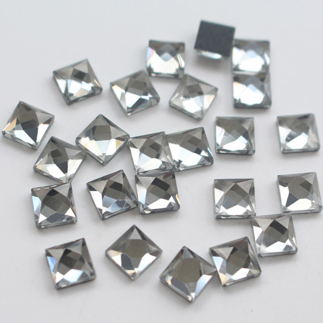 New 130pcs lot Stones And Crystals Glass beads square Shaped 8 8mm  Rhinestones Hot db83a864638c