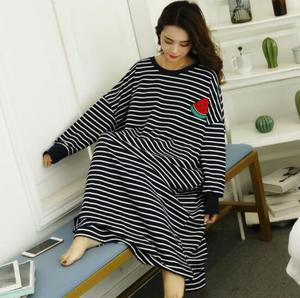 Image 3 - Fdfklak كبير الحجم المرأة فستان سهرة كم طويل قميص النوم القطن مزيج الملابس المنزلية ربيع الخريف قمصان النوم ثوب النوم فضفاضة