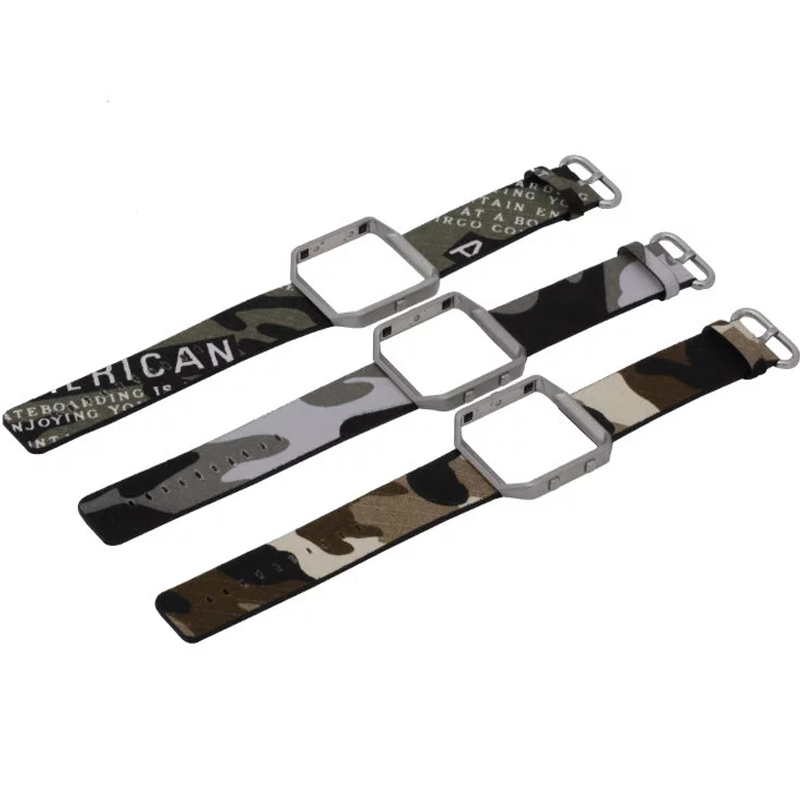 Camouflage Army Green Wrist Watch Band Strap+Metal Frame for Fitbit ...