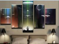 Framed Star Wars Yoda X Wing Tie Fighter Death Star Anime Print Poster Canvas Decoration 5