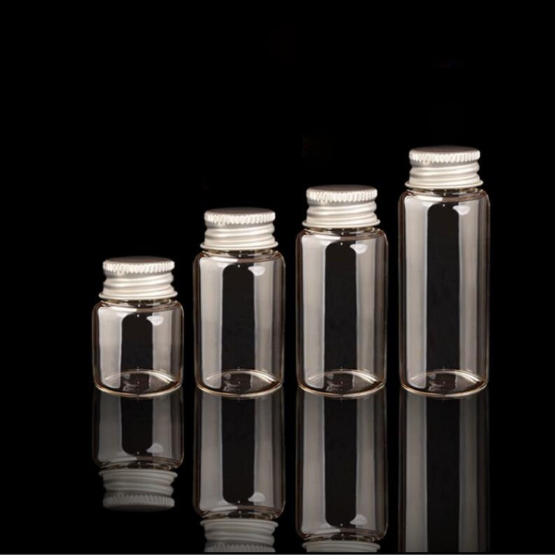 20PCS New Mini Stopper Glass Bottles Vials Jars Containers Small Wishing Bottle Glass Craft Aluminum cap mason jar glass S026D