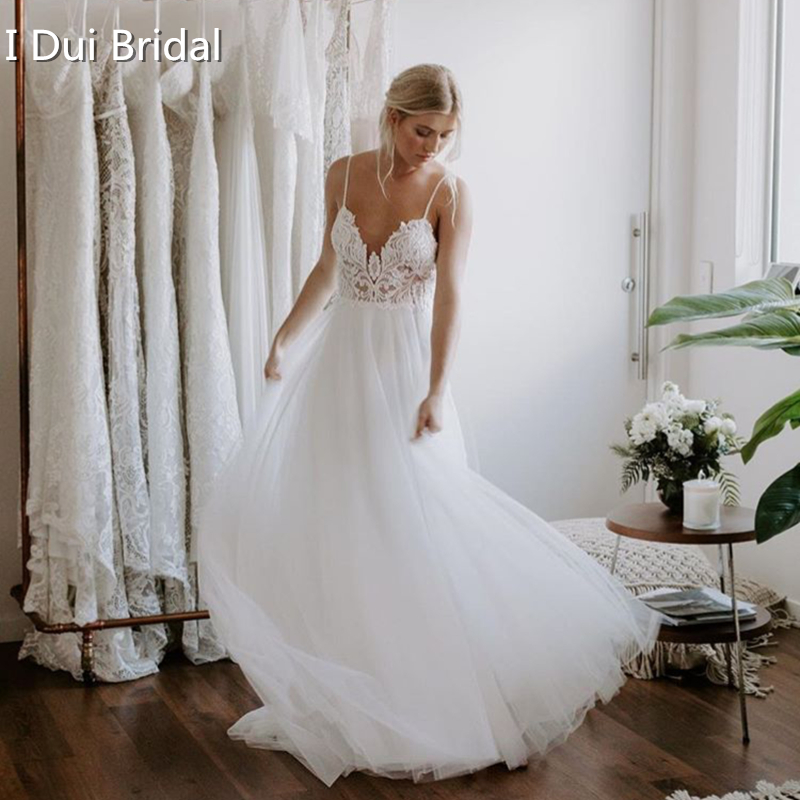Boho Wedding Dress Lace Tulle A Line Bare Low Back