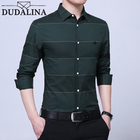 DUDALINA Men's Shirt Long Sleeve 2018 NEW Men's 100%Cotton Striped Shirt Homens Casual Fashion Full Camiseta Size M 4XL