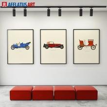 Pintura Da Lona de INSPIRAÇÃO Nórdico Clássico Carros Cartaz Da Lona Impressão Decoração Pintura Parede Pictures Para Living Room Home Decor