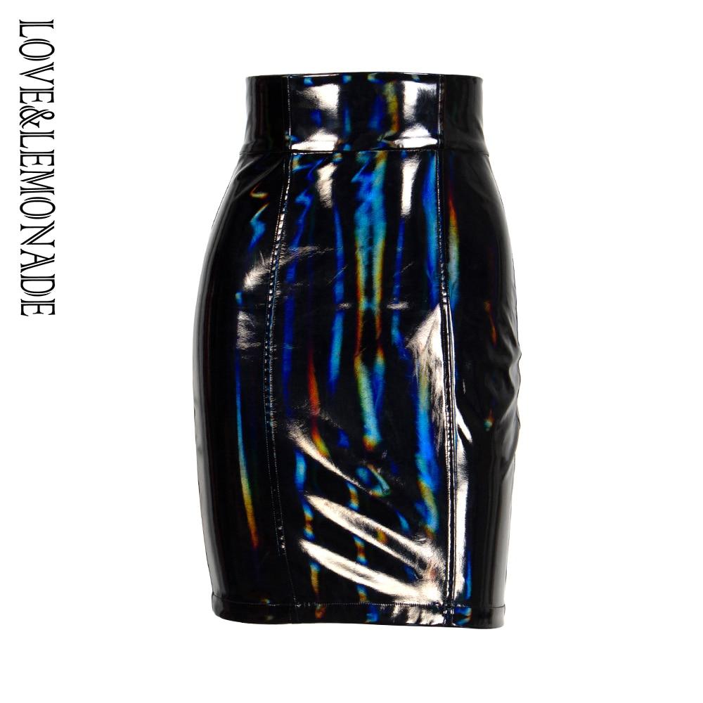 Love&Lemonade  Black High Waist Collar Reflective Elastic PU Material Slim Skirt  LM81492