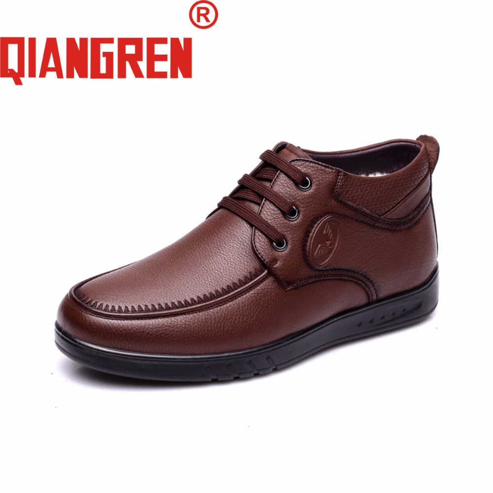 QIANGREN High-grade Quality Military Factory-direct Men's Winter Genuine Leather Wool Rubber Snow Boots Outdoors Casual Shoes new premium promotional yu europe d41x d341x flange rubber seal butterfly valves factory direct quality assurance