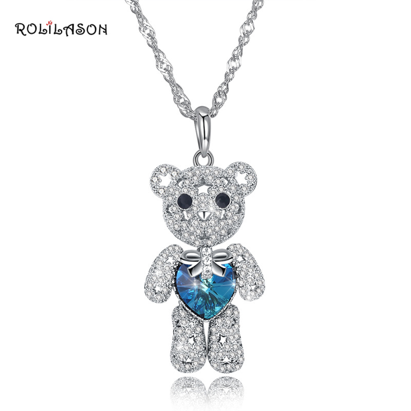ROLILASON Cute Animal 925 Sterling Silver Necklace Pendant Blue Zircon Jewelry Fashion Special SP72 rolilason minimalist design 925 sterling silver pink heart shaped zircon pendant necklace party gift sp75